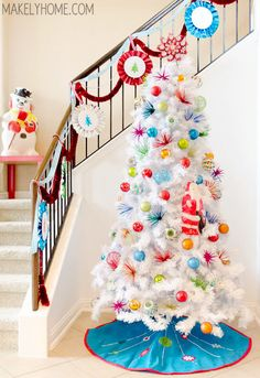 I'm Dreaming of a {1960s Inspired, Brightly Decorated} White Christmas {Tree} - Makely School for Girls