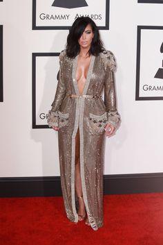 Kim Kardashian at the Grammy Awards in Los Angeles, 2015 Abaya Style, Arab Fashion, African Fashion, Latest Outfits, Fashion Outfits, Grammy Outfits, Rihanna, Beyonce, Grammy Fashion