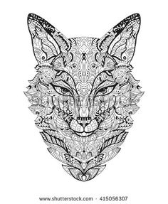 Zen art fox. Zentangle fox head for the adult antistress coloring book on white background. Vector illustration. Hand drawn zendoodle. Adult coloring page fox. T-shirt print. Mandala fox.