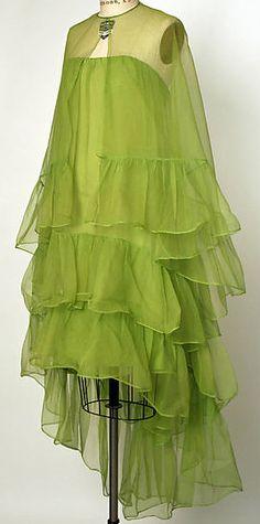 Balenciaga - Vintage - Robe Volantée et Etole - Soie - 1966