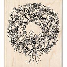 Inkadinkado Christmas Mounted Rubber Stamp Wreath Doodle