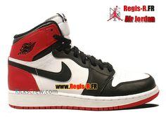 hot sale online 7e7ab bf8b7 Nike Air Jordan 1 Retro High GS - Chaussures Basket Jordan Pas Cher Pour  Femme Enfant BLANC NOIR-GYM ROUGE 575441-184