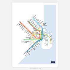 Copenhagen S-Train & Metro Map: Literal English Translation Poster