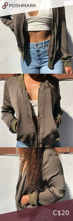 Super light weight khaki green bomber jacket. Super thin material so can be worn to layer or for the warmer days. Jackets & Coats Bomber Jackets Zara Bomber Jacket, Metallic Bomber Jacket, Army Green Bomber Jacket, Fur Bomber, Suede Moto Jacket, Bomber Jackets, Faux Fur Jacket, Mesh Long Sleeve, Embroidered Jacket