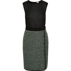 M Missoni Honeycomb-mesh, tech-jersey, stretch-knit and tweed dress ($358) ❤ liked on Polyvore featuring dresses, black, short jersey dress, stretch knit dress, mini dress, honey comb and textured dress