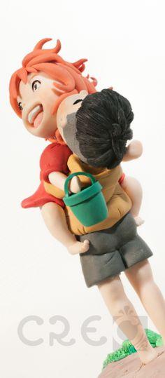 Fedele riproduzione realizzata a mano tratta da una scena del film d'animazione #Ponyo e #Sosuke | #handmade #scultura#fimo #CollectionFigures