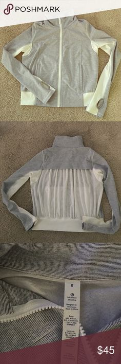 Lululemon Jacket Brand New! Brand new Lululemon Jacket. Gray/white stripe with sheer back lululemon athletica Jackets & Coats