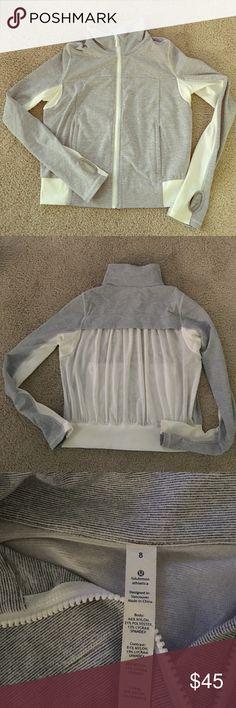 Lululemon Jacket Brand New! Brand new Lululemon Jacket. Gray/white stripe with sheer back lululemon athletica Jackets & Coats