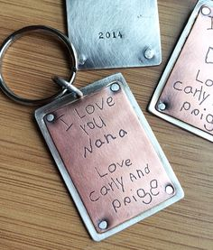 Personalized Keychain Artwork and Handwriting Copper and Sterling