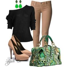 Black & tan outfit w green accents