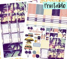 Sunset Beach Printable Weekly Sticker Kit | Beach Stickers, Summer Stickers, Printable PDF Erin Condren Lifeplanner, INSTANT DOWNLOAD by TheWanderlustPlanner on Etsy https://www.etsy.com/listing/287676575/sunset-beach-printable-weekly-sticker