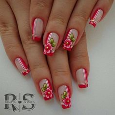 78 nail models decorated to inspire you in your manicure Spring Nails, Summer Nails, Finger, Acryl Nails, Boxing Day, Flower Nails, French Nails, Manicure And Pedicure, Beauty Nails