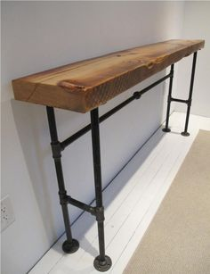 This is our Reclaimed Wood Industrial Console. If you Want to own a piece of Manhattan, well here's your chance, this Console Table is made from a late building that was taken down to make way… Furniture, Industrial Furniture, Reclaimed Wood Desk, Wood Console, Wood Steel, Woodworking Furniture, Wood Furniture, Wood Table, Reclaimed Wood Bars