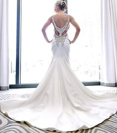 Our exquisite @kleinfeldbridal #PninaBride in a Swarovski embellished stunning back.  Photography by: Robert Rios