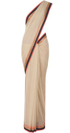 Beige sari with neon orange, gold and black border available only at Pernia's Pop-Up Shop.