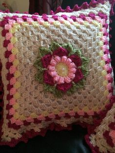 Vintage Crochet Pillow case Crochet Cushion Pillow by cnicolae
