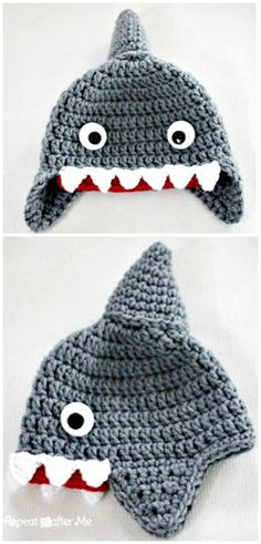 Free Crochet Shark Hat Pattern - Crochet Hat Patterns - 148 Free Patterns for Beginners - DIY & Crafts
