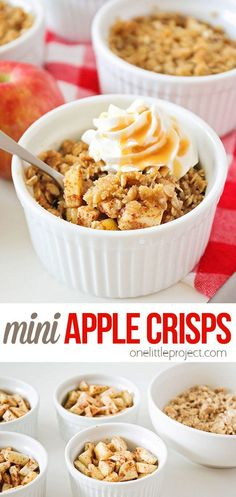 These mini apple crisps are the perfect individual-sized dessert! They take just a few minutes to put together, and bake into a deliciously sweet treat! Mini Apple, Pastry Blender, Apple Crisp, Cinnamon Apples, Dessert Recipes, Desserts, Family Meals, Pumpkins, Sweet Treats