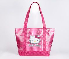 Hello Kitty Tote Bag: Pink Checkered