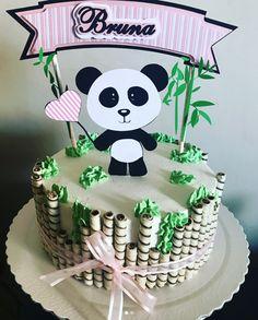 50 Ideias para Festa Panda Panda Bear Cake, Bolo Panda, Panda Cakes, Bear Cakes, Panda Birthday Cake, 1st Birthday Cakes, Birthday Parties, Panda Themed Party, Panda Party