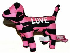 Victoria Secret Pink & Black Striped Stripes Plush Dog #VictoriaSecret