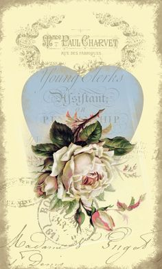 french country decoupage paper with blue heart, rose Decoupage Vintage, Vintage Diy, Vintage Tags, Vintage Labels, Vintage Ephemera, Vintage Paper, Vintage Postcards, Vintage Flowers, Vintage Prints