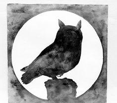 Smoky Full Moon Owl Original Watercolor Painting / 6 x 6