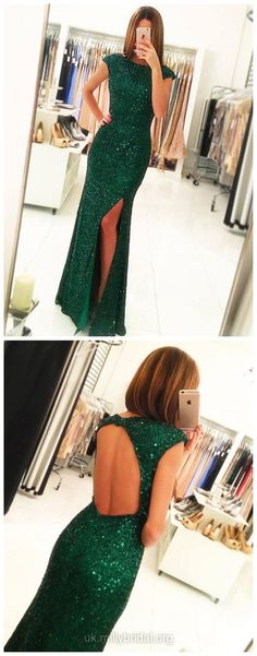 Green Prom Dresses Long, 2018 Party Dresses Sequined, Sexy Formal Dresses Open Back, Latest Evening Dresses Modest Online