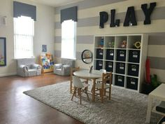 20 Fantastic Kids Playroom Design Ideas – Modern Home Playroom Design, Playroom Decor, Boys Playroom Ideas, Playroom Furniture, Curtains For Playroom, Kids Rooms, Gray Playroom, Playroom Paint Colors, Bedroom Furniture