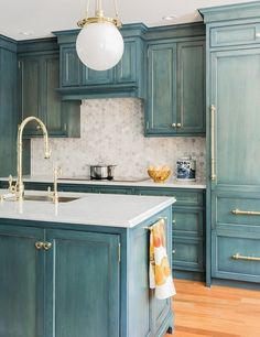 Vintage Blue Painted Cabinets with White Marble Countertop and Hexagonal Backsplash. Blue Kitchen Cabinets, Kitchen Cabinet Colors, Painting Kitchen Cabinets, Kitchen Redo, Kitchen Colors, Rustic Kitchen, New Kitchen, Brass Kitchen, Kitchen Hardware