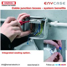 Cable junction boxes - system benefits:  - Integrated sealing option. #integrated #sealing #Junctionboxes #easyfix #benefits #Hensel #boxes #system #cable #option #junction Junction Boxes, Cable Box, Benefit