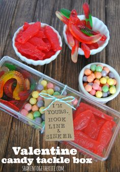 Valentine candy tackle box - great gift for guys! Fill a small plastic divided box with gummy worms, gummy fish and round sour candies for an easy Valentine gift for your favorite fisherman! Valentine Day Crafts, Happy Valentines Day, Valentine Ideas, Homemade Valentines, Printable Valentine, Valentine Party, Kids Valentines, Valentine Cookies, Valentine Wreath