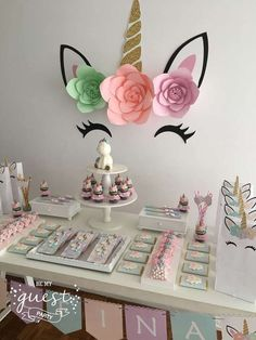 Unicorns Birthday Party Ideas Photo 1 of 25 Unicorn Birthday Parties, First Birthday Parties, Birthday Party Decorations, First Birthdays, Birthday Ideas, 25 Birthday, Diy Unicorn Party, Birthday Candy, Unicorn Crafts