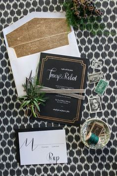 Modern Black and Gold Wedding Invitations | She Wanders Photography | http://heyweddinglady.com/modern-preppy-wedding-black-gold-emerald-mixed-prints/