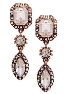 Icicle Empress Drop Earrings | gold plated antique brass crystal statement drops | JewelSugar.com