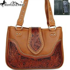 Montana West Classic Studded Floral Western Handbag in Brown Shoulder Purse Concealed Carry Handbags, Western Purses, Leather Projects, Brown Purses, Shoulder Purse, Montana, Purses And Bags, Tote Bag, Classic