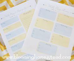 Free Printable Menu Planning sheets. Blooming Homestead