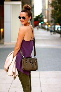 Dark purple + olive. Statemnt earrings. Perfect bun. I love Courtney Kerr's style!