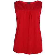 Red Pleated Sleeveless Top ($14) ❤ liked on Polyvore featuring tops, shirts, tank tops, tanks, women's clothing, pleated top, red sleeveless top, red singlet, sleeveless shirts and sleeve less shirts