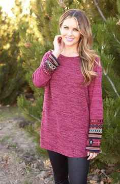 Wine Knit top tribal design