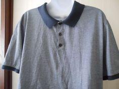 Jos A. Banks Joseph Mens Black Label Polo Short Sleeve Blue Stripe Shirt Size L #JosABank #PoloRugby