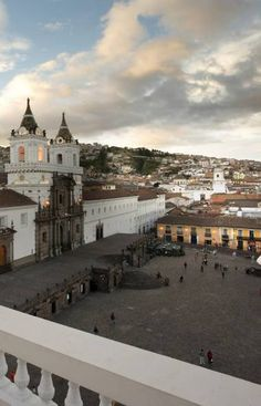 Quito, Ecuador...this was our day 1! Started out sunny and within 1 minute we were soaking wet in a sudden downpour! This courtyard is a lot bigger than this picture shows...which is why we got soaked running for cover!