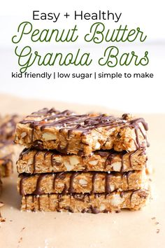 Healthy peanut butter granola bars are an easy snack and loaded with almonds, honey, and oats. Made with no refined sugar and packing a protein punch, these healthy no bake bars are perfect for kids and adults! Granola Bars Peanut Butter, No Bake Granola Bars, Healthy Granola Bars, Healthy Bars, No Bake Bars, Healthy Peanut Butter, Healthy Baking, Homemade Protein Bars, Easy Protein Bars