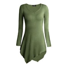 DJT New Lagenlook Clothing Womens Stretchy V Neck Long Sleeve Slim Fit... ($11) ❤ liked on Polyvore featuring tops, v-neck tops, long sleeve v neck top, vneck tops, green top and stretchy tops