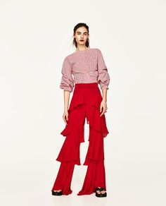 Image 1 of TROUSERS WITH FRILLS from Zara