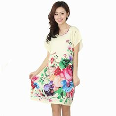 Printed Female Sexy Floral Nightdress Robes Summer Women Cotton Nightgown Chinese Style Sleepwear pijamas mujer One Size