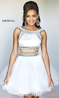 Short Ivory Two Piece Dress at PromGirl.com