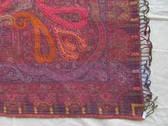 BOILED WOOL SHAWL PAISLEY HAND EMBROIDERY DESIGN JAMAWAR CASHMERE THROW BED 3993