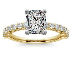 Radiant Shared Prong Diamond Engagement Ring in Yellow Gold  http://www.brilliance.com/engagement-rings/shared-prong-diamond-ring-yellow-gold-1/2-ctw