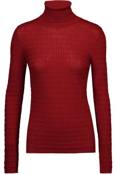 M Missoni | Crochet-knit burgundy abd claret wool-blend turtleneck sweater | M Missoni | UK | THE OUTNET
